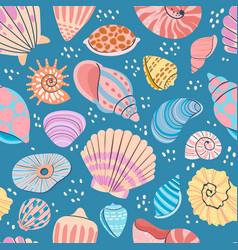 seashell seamless pattern summer ocean print vector image