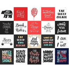 set 20 motivational and inspirational vector image