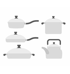Set kitchen utensils frying pan and saucepan Tea vector