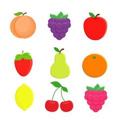 Set of 9 cartoon fruit lemon orange apple pe vector