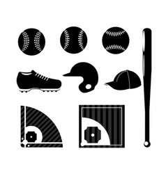 Set silhouette baseball sport game with vector