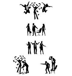 Silhouettes of businesspeople in action vector