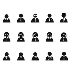 Simple black businessman avatar icons set vector