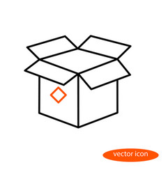 simple linear image of an open cardboard vector image