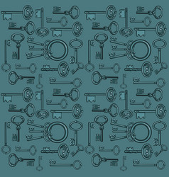sketch with ornament vintage forged keys isolated vector image