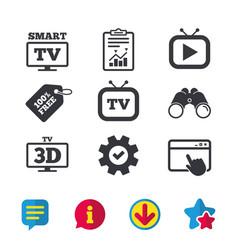 Smart 3d tv mode icon retro television symbol vector