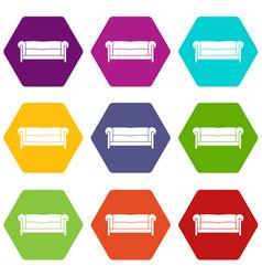 sofa icon set color hexahedron vector image
