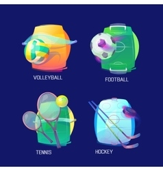 Sport logo of hockey tennis soccer volleyball vector image