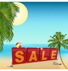 Summer sale sign on the beach vector