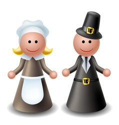 Thanksgiving pilgrim characters vector image