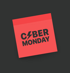 The cyber monday label discound paper sticker vector