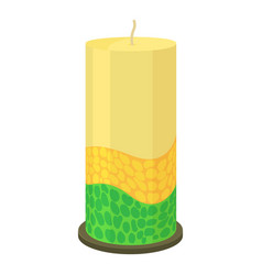 Thick decorative candle icon cartoon style vector