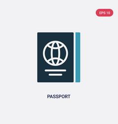 Two color passport icon from travel concept vector