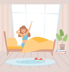 Wake up girl woman in bed yawning sunny morning vector