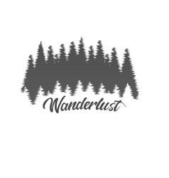 Wanderlust adventure forest logo white background vector