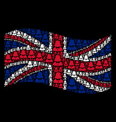 waving british flag mosaic of woman items vector image