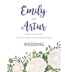 Wedding floral tender invite card design vector