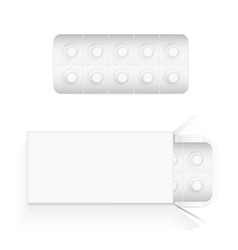 white round pills in a blister open cardboard vector image