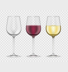 wine glasses realistic style glassware bar set vector image