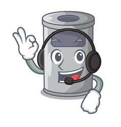 With headphone cartoon steel trash can in the vector