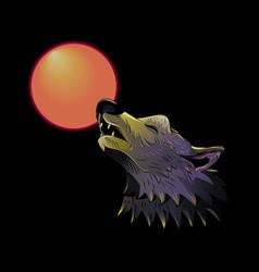 Wolf head howling on moon vector