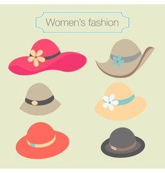 Womens fashion collection of hats vector