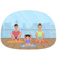 young white people family meditating in fitness vector image vector image