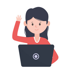 young woman using laptop computer social network vector image