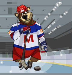 cartoon character bear dressed in clothes hockey vector image