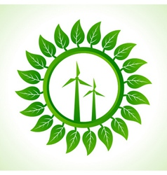 Eco wind mill inside the leaf background vector image vector image