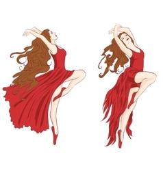 girls dancing contemporary dance vector image