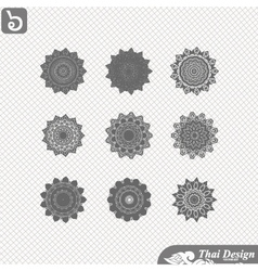 set of Line thai art design vector image