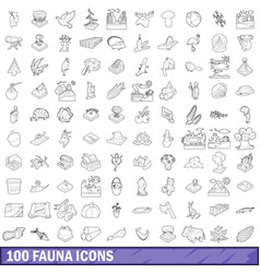 100 fauna icons set outline style vector image vector image