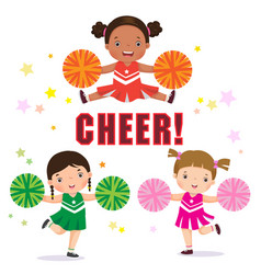 cheerleader with pom poms vector image vector image