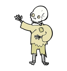 comic cartoon skeleton waving vector image vector image