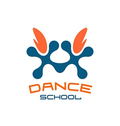 Dance school logo template modern style vector