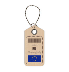 hang tag made in european union with flag icon vector image