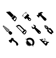 Set of isolated hand tools icons vector image vector image