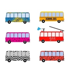 Set of Painted Cartoon Buses for Vacation School vector image vector image