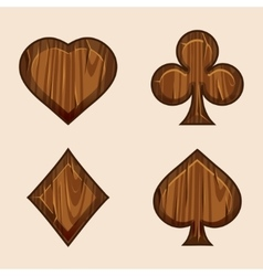 set wooden icons of playings cards vector image