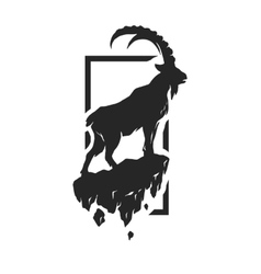 Silhouette of a mountain goat vector image vector image