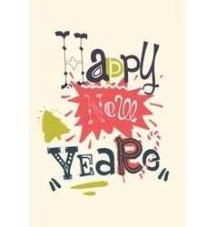 Stylish text Happy New Year on abstract background vector image vector image
