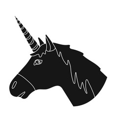 unicorn icon in black style isolated on white vector image