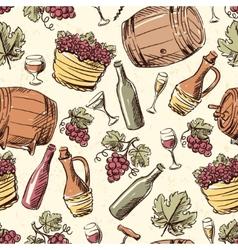 Wine vintage hand drawn seamless pattern vector image