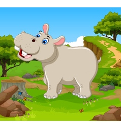funny hippo cartoon in the jungle vector image