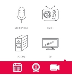 Tv retro radio and microphone icons vector