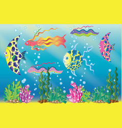 Underwater scene with colorful fish and bubbles vector