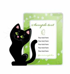 frame and black cat vector image vector image
