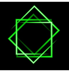 Green neon square background vector