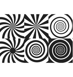 horizontal banner set of psychedelic spiral with vector image vector image